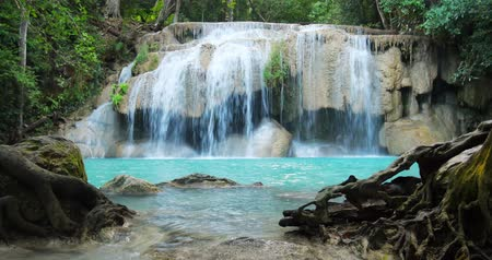 on nature : Erawan waterfall in Thailand. Idyllic tropical paradise nature background