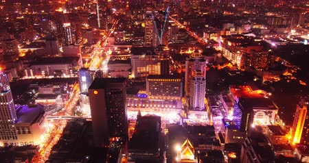 panoramic view : City lights at night. Aerial panoramic view of Bangkok, Thailand Stock Footage