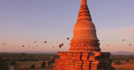 határkő : Myanmar Burma landmark - temples of Bagan. Ancient Buddhist pagodas and archaeological ruins of famous travel destination in Asia and tourist landmark Stock mozgókép