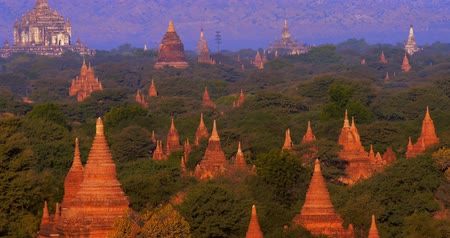 mianmar : Aerial view of many ancient Buddhist temples in Bagan historical site in Myanmar Burma. Popular travel destination and Asian landmark