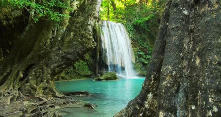 Amazing nature video background. Beautiful waterfall in tropical rainforest with old trees and clear water of natural pond. Tracking slider shot