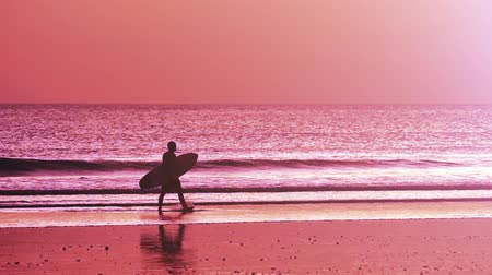 prancha de surfe : Surfing background. Man coming out from water with surf board Vídeos