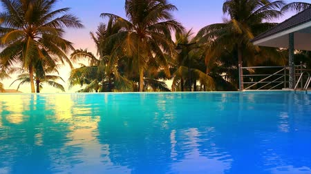 estância turística : Luxury hotel pool with blue water and palm trees around. Tropical island
