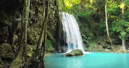 maravilha : Tranquil and serene scene of waterfall falling in wild pond in jungle rainforest of Asia