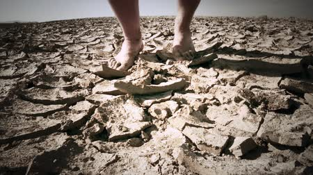 sucho : Man walks in desert on cracked dry land and falls on his knees tired and exhausted by drought and heat. Conceptual video background Dostupné videozáznamy