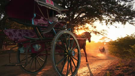 sáně : Amazing scene of horse carts on dusty roads of rural Myanmar near Bagan historical site at sunset with bright shining sun and rays. Countryside of Burma