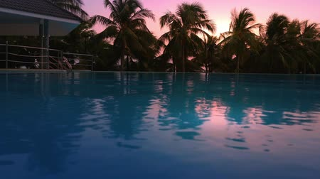 holiday villa : Swimming pool in luxury resort hotel. Beautiful sunset and palm trees hd video footage video