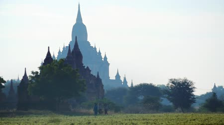 mianmar : Beautiful panorama of Bagan historical site in Burma. Ancient Buddhist temples and pagodas surrounded by agricultural fields. Peasants woman walking along rural road of Myanmar countryside