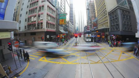 путешествие : Time lapse video from famous Hongkong tram moving through busy city at day time