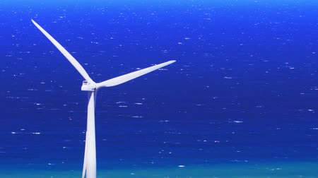 kavramsal : White wind turbine on sea shore conceptual background. Alternative energy production by windmills