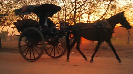 kordé : Beautiful silhouettes of horse wagons at sunset with unidentified Burmese drivers returning home after long day service. Horse carts are very popular among tourists