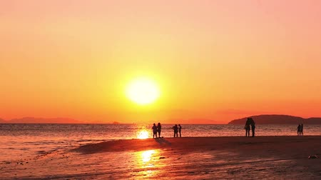 derűs : People on holiday look golden sunset sundown at ocean beach. Calm nature HD video