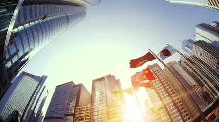 financial : Hong Kong exchange square modern office buildings of business city district Stock Footage