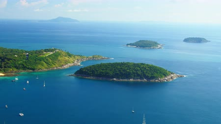takımadalar : Panoramic aerial view of small islands near Phuket, Thailand Stok Video