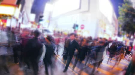 hong kong foot : Asian city busy street rush conceptual background with blur camera effect