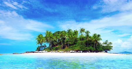 transparente : Beautiful small island. Coconut palm trees on sandy beach at sunny summer day 4K