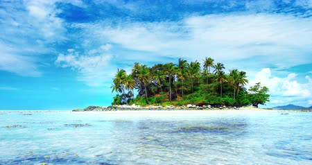 остров : Crystal clear water of tropical sea and small island with coconut palm trees
