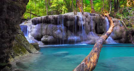 peaceful : Erawan national park, Kanchanaburi, Thailand. Scenic nature of jungle forest Stock Footage