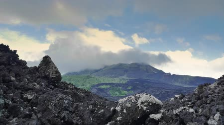 montar : Extreme rocky terrain of volcanic landscape of Batur volcano in Bali, Indonesia