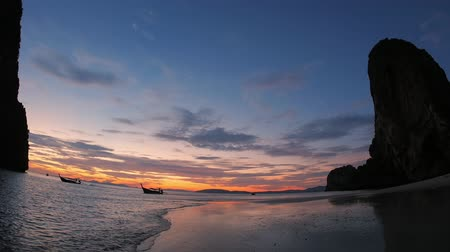 província : Sunset scene of tropical beach in twilight of dusk. Travel to Thailand
