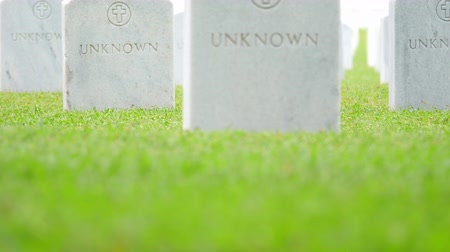 veterano : Endless rows of marble headstones of Unknown US military soldiers in cemetery Vídeos