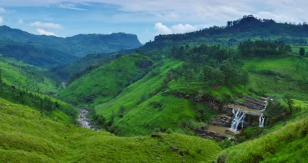 tea plantation : St. Clairs falls, beautiful green tea fields and amazing mountains in Sri Lanka