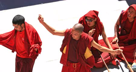tibet : Tibetan celebration in Buddhist temple in Ladakh. Monks dance in Likir monastery