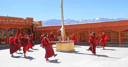 likir gompa : Sacred Buddhist dance performance in Ladakh monastery. Likir gompa event