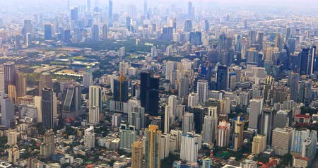 Bangkok, Thailand aerial city scape view from above. Dense urban development and construction district in sout east Asia 影像素材