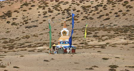 himalaia : Buddhist stupa near Dhankar lake and Dhankar monastery in Spiti Valley, Himalaya, North India