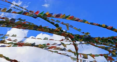 vlajky : Buddhist prayer flags against blue sky in Himalaya, Ladakh, North India