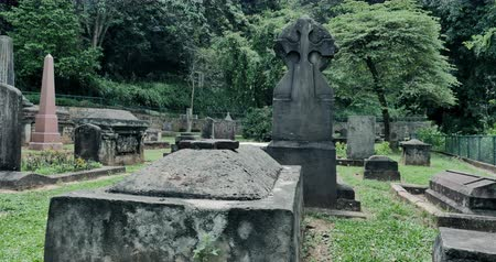 Spooky headstones of old cemetery with many graves and antique tombs. Mystery and silence of spooky landscape