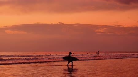 sportolók : Bali island surfers at golden sunset with slow motion sea waves roll on beach of ocean coast. Beautiful summer seascape Stock mozgókép