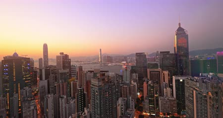 Hong Kong cityscape panorama. Urban city downtown skyline sunset view. Skyscrapers of business district and modern buildings aerial landscape 影像素材