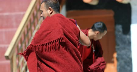 fesztivál : Ladakh traditional culture. Buddhist monks dance during celebration in Likir