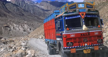 himalaia : Big indian Tata truck delivers supply to remote areas of Ladakh region in Himalayas of northern India