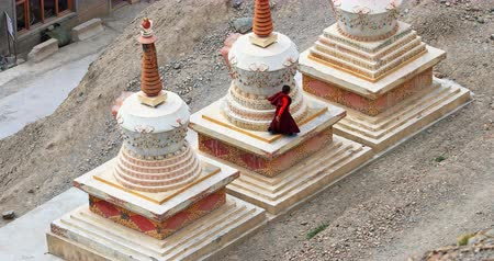 zelândia : Little kid novice Buddhist monk plays and jumps around pagodas in Lamayuru monastery in Ladakh, Himalayas, northern India