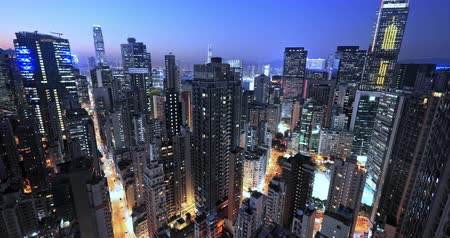Hong Kong at night cityscape skyline aerial panoramic view. Modern city futuristic landscape 影像素材