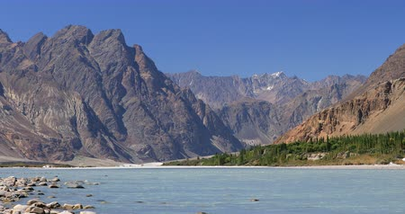 Beautiful mountains of Himalaya range and Shyok river flowing in majestic natural valley in Ladakh, India