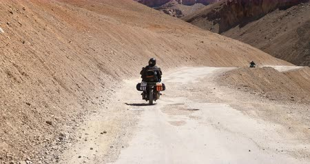 Travel on motorcycle on road of Himalaya mountains. Roadtrip landscape