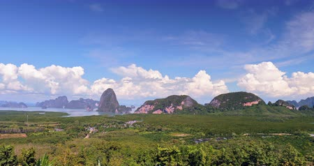 takımadalar : Phang Nga bay near Phuket in Thailand beautiful nature and sea landscape panorama