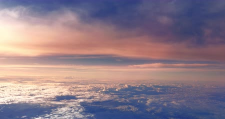 Amazing nature landscape background of sunset sky view high above clouds. Beautiful aerial panorama