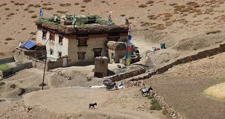 himalaia : Traditional Ladakh house in north India Stock Footage