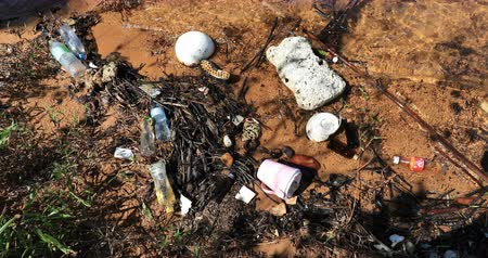 Human plastic waste and debris on sea shore. Nature and ecology pollution background