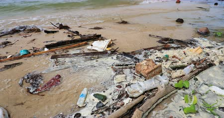 destruído : Dirty sand beach with garbage and debris on sea shore