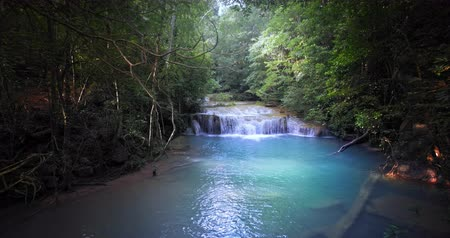 virgin forest : Waterfall hidden in jungle forest. Emerald pool with transparent water under foliage of dense trees vegetation
