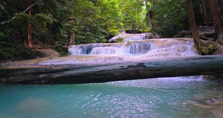 virgin forest : Scenic nature in Thailand national park. Stream of water with waterfall cascades flows through tropical forest