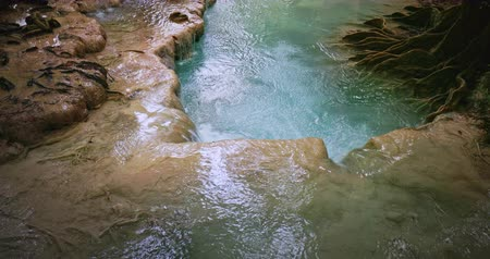 limpo : Shallow river stream on cascades in Kanchanaburi national park, Thailand