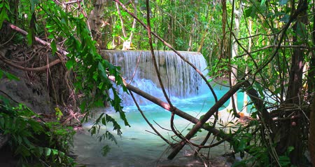нетронутый : Beautiful tropical waterfall in wild nature of Thailand jungle forest
