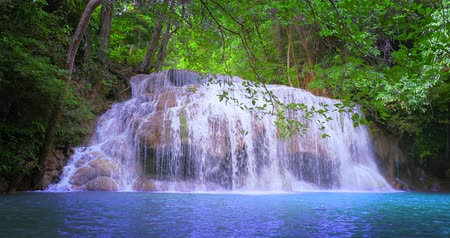 pristine : Scenic waterfall in tropical forest. Amazing nature background Stock Footage